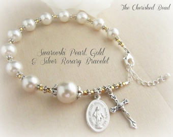 Beautiful Swarovski Pearl, Gold and Silver Rosary Bracelet