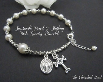 Swarovski Pearl and Silver Irish Rosary Bracelet