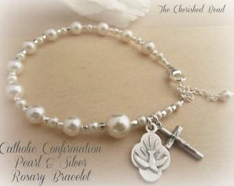 Catholic Confirmation Swarovski Pearl and Silver Rosary Bracelet