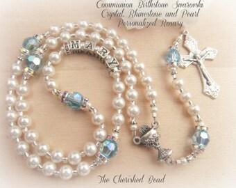 Communion Swarovski Birthstone, Rhinestones and Pearl Persoanlized Rosary