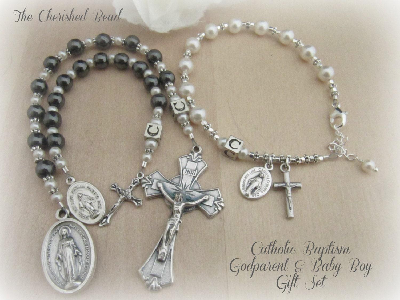 Baby Gifts For Catholic Baptism : Catholic baptism godparent parent and baby boy gift set