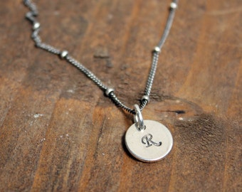 Initial Stamped Simple Sterling Silver Necklace