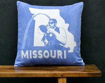 Missouri Accent Pillow - Decorative Cotton Denim State Pillow - Missouri Home Accessory