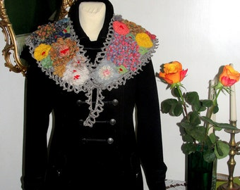 Crochet women warm scarf,multicolor wrap, crochet collar,roses and leaves,rainbow mystery