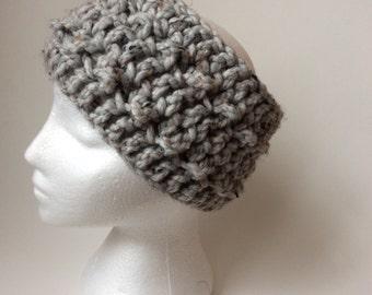 Chunky textured headwarmer headband earwarmer in tones of grey