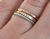 Lovers Stack - Set of Personalized Tiny Stacking Rings