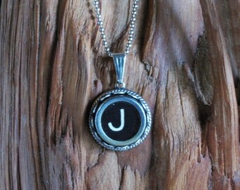 The Letter J Vintage Typewriter Key Pendant Necklace