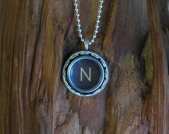 The Letter N Vintage Typewriter Key Pendant Necklace
