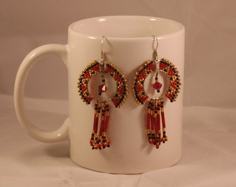 Gold, Black and Red Peyote Hoops