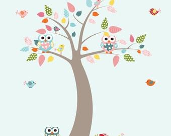 Vinyl Tree Decal, Birds and Owls Nursery Wall Art