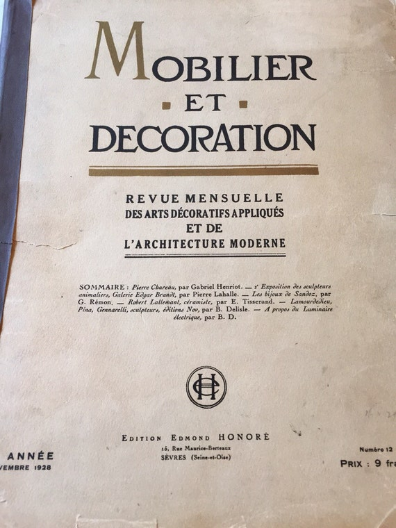 PARIS DECOR MAGAZINE 1928 Mobilier et Decoration Magazine Periodical ...