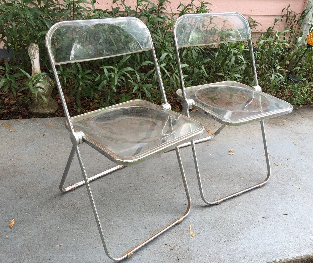 TWO PLIA LUCITE Chairs Folding Chairs Pair by Plia Castelli of
