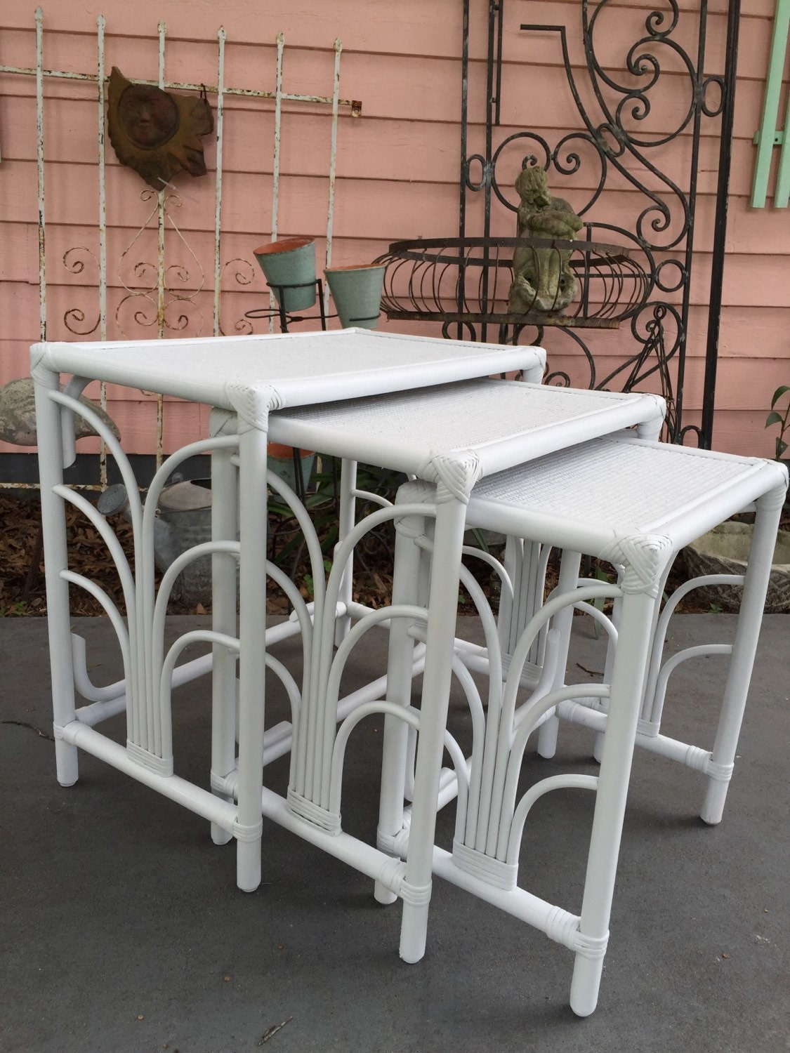 Rattan Nesting Tables ~ White wicker tables nesting of rattan