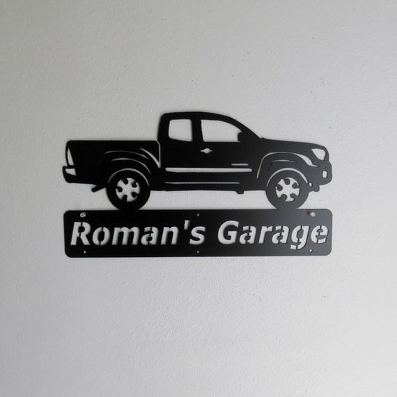 Toyota Tacoma Truck Personalized Man Cave  Garage Sign Satin Black