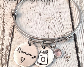 Mothers Day Personalized Bangle Bracelet - Hand Stamped Initial Charms - Mommy Pewter Charm - Mason Jar - Swarovski Crystal Birthstone