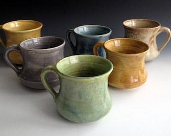 READY TO SHIP Set of Six, comfort mugs in six earth tones, coffee mugs, handmade by Leslie Freeman