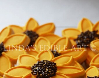Black Eyed Susan Cookies   1 Dozen (12)