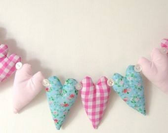Shabby Chic 9 Heart Fabric Garland Pink Gingham and Aqua Florals