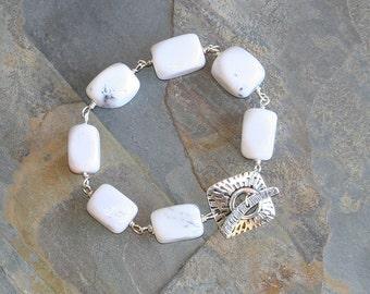 Chunky White Bracelet, Natural Stone Bracelet, Agate Bracelet, Rustic Bracelet, Bangle Bracelet, Bohemian Bracelet, Handmade Bracelet