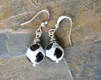 Black and White Earrings, Giraffe Earrings, Agate Earrings, Stone Earrings, Spring Earrings, Black and White Earrings, Animal Print Earrings