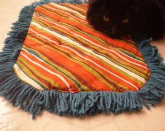 Catnip Crinkle Mat multicolor striped Pattern  Toy Bed w Turquoise Fringe Recycled/upcycled