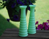 Pair of Vintage Jeanette Glass Company Jadeite Six Inch Vases