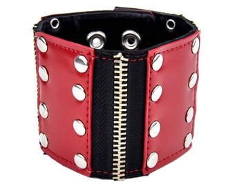 "Red Rivet Studs With Zipper 3 Panel Quality Black Leather Wristband Cuff Bracelet 2-1/2"" Wide"