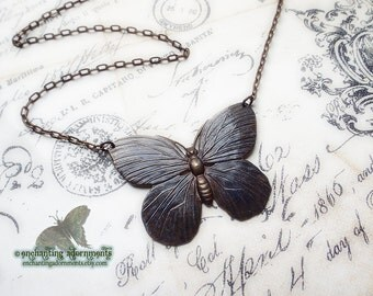Midnight Butterfly ~ Bohemian Noir fantasy necklace with Vintaj brass components