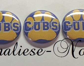 "Blue and Yellow Cubs 1"" Buttons in hollow back or pin back (Sale on this listing only)"