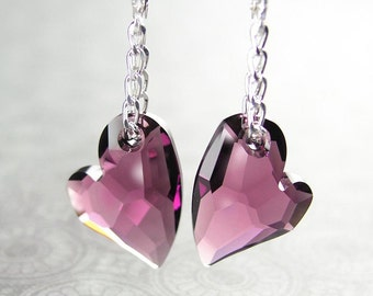 Swarovski Crystal Amethyst Heart Earrings Sterling Silver February Birthstone Amethyst Purple Earrings Heart Dangle Drop Earrings