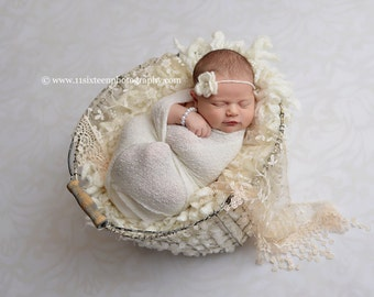 Cream Tassels Lace Baby Wrap Newborn Photography Prop