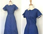 1950s Swing Dress - blue cotton dress - shirt dress - fit and flare - Gay Gibson - medium