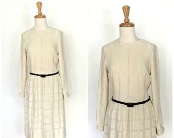 1960s Dress -  60s boho dress - alternative wedding - Lanz - cream linen dress - bridal - midi - Medium