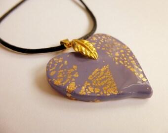 Heart Pendant Mauve Heart Pendant Mauve Heart Necklace Polymer Clay Pendant Heart Necklace Valentine's Day Pendant