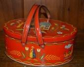 RESERVED FOR JADE - Vintage tin - picnic basket - colorful - Dutch - cookie - metal storage hamper