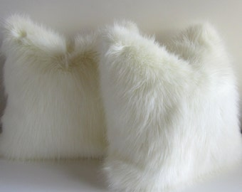 Furry White Pillow Cover - 17X17 - faux fur - creamy white - luxury fur - ready to ship