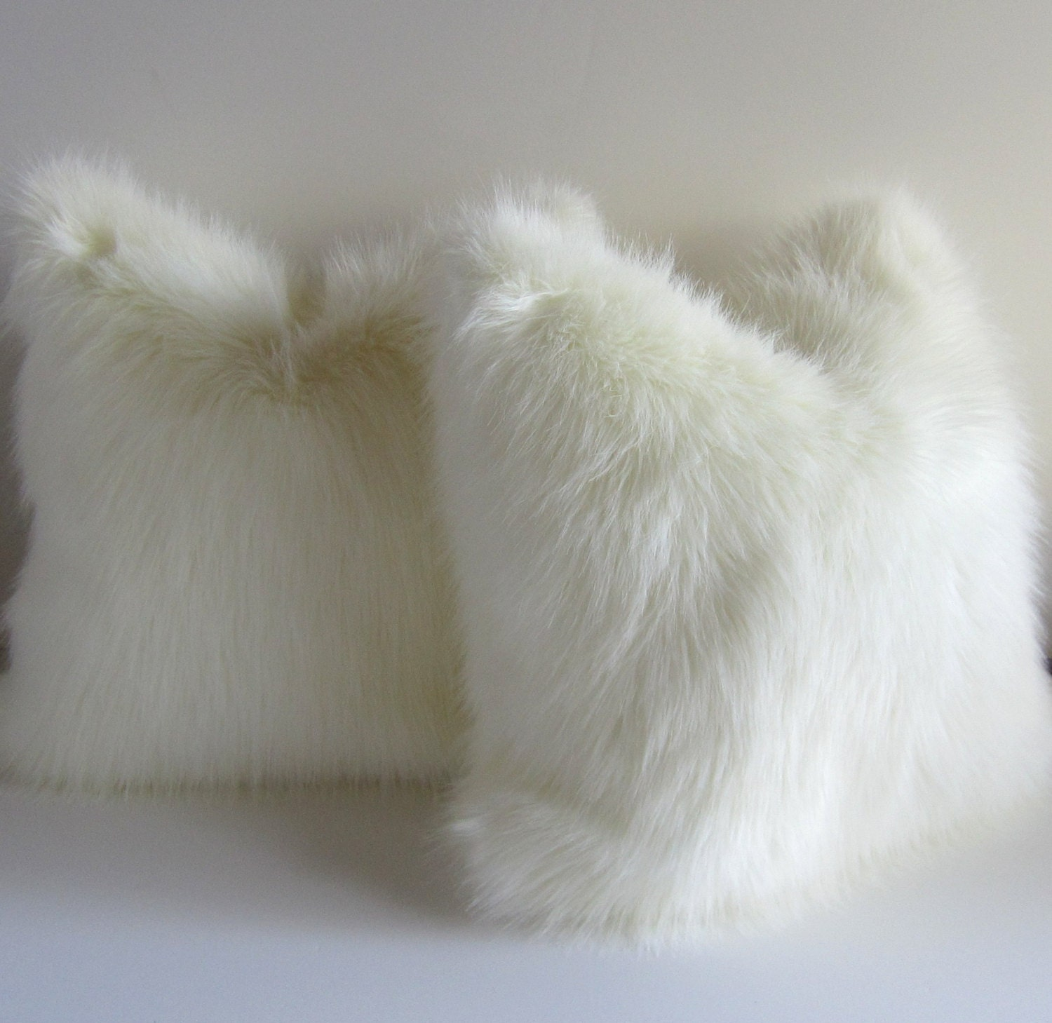 Set of two furry white pillow covers faux fur by studiotullia for White faux fur pillow