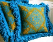 Vintage Italian Wool Damask Pillow Cover - Mid Century Baroque Turquoise Teal Gold Fringe - NOS Never Used