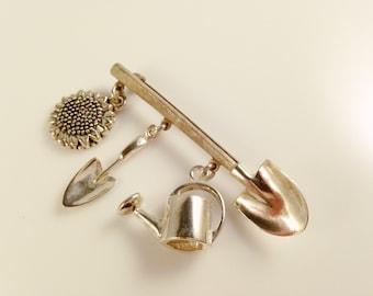 Sterling Silver Gardening Brooch Pin, Vintage Sterling Brooch, Floral Brooch, Sterling Silver Figural Brooch Pin, Vintage Sterling Jewelry
