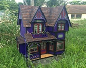 """Witch's Dollhouse, fully furnished! Hand made, hand painted, one of a kind, OOAK, 1:12 1/12 1"""" scale"""