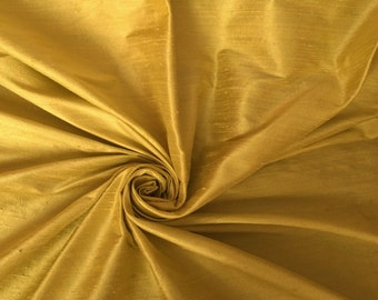 "Gold 100% Dupioni Silk Fabric Wholesale Roll/ Bolt 55"" wide"