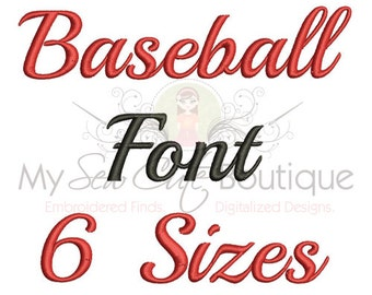 Baseball Embroidery Fonts Machine Designs Monogram Softball - Sports Font Embroidery Design - 6 Sizes - Instant Download
