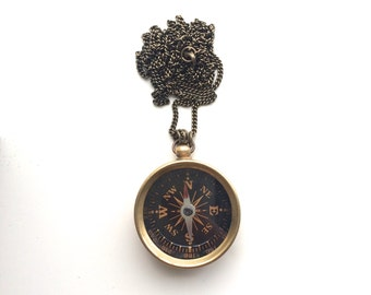 Gold Compass Pendant on Long Antiqued Chain