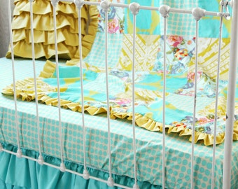Lily Belle Patchwork Ruffle Blanket in Yellow and Turquoise, Baby Girl Toddler Blanket for Handmade Nursery