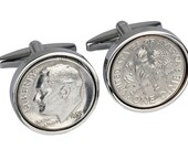 61st birthday gift. Genuine 1955 coin- 90% silver coin--Very rare-Cufflinks for Men