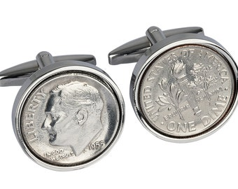 62nd birthday gift. Genuine 1955 coin- 90% silver coin - Very rare-Cufflinks for Men - 3 day delivery option - presentation box included