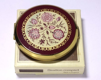 Vintage Stratton Compact with Original Box and Extra Mirror in Pouch - circa 1970's