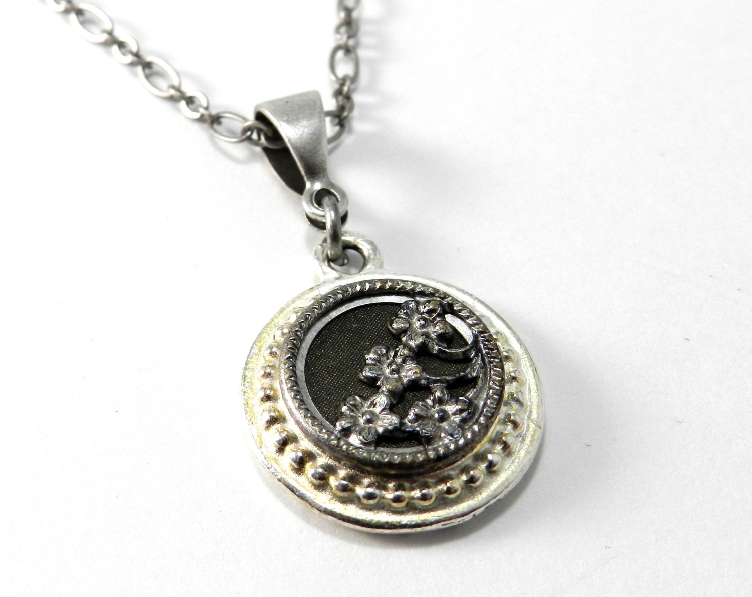 sale antique button necklace by compassrosedesign