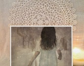 """4x5 digital collage print """"Into the light"""" vintage-gothic inspired"""