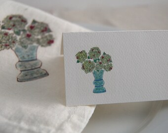 Hydrangea Bouquet Tented Name Place Cards 10 Personalized Party Decor or 12 Blank